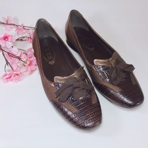 Tods Brown Canvas and Leather Driving Loafer Sz 40
